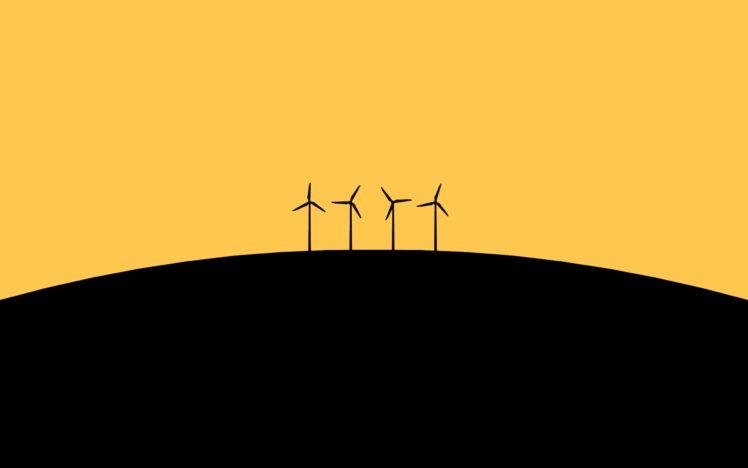 simple background, Wind turbine HD Wallpaper Desktop Background
