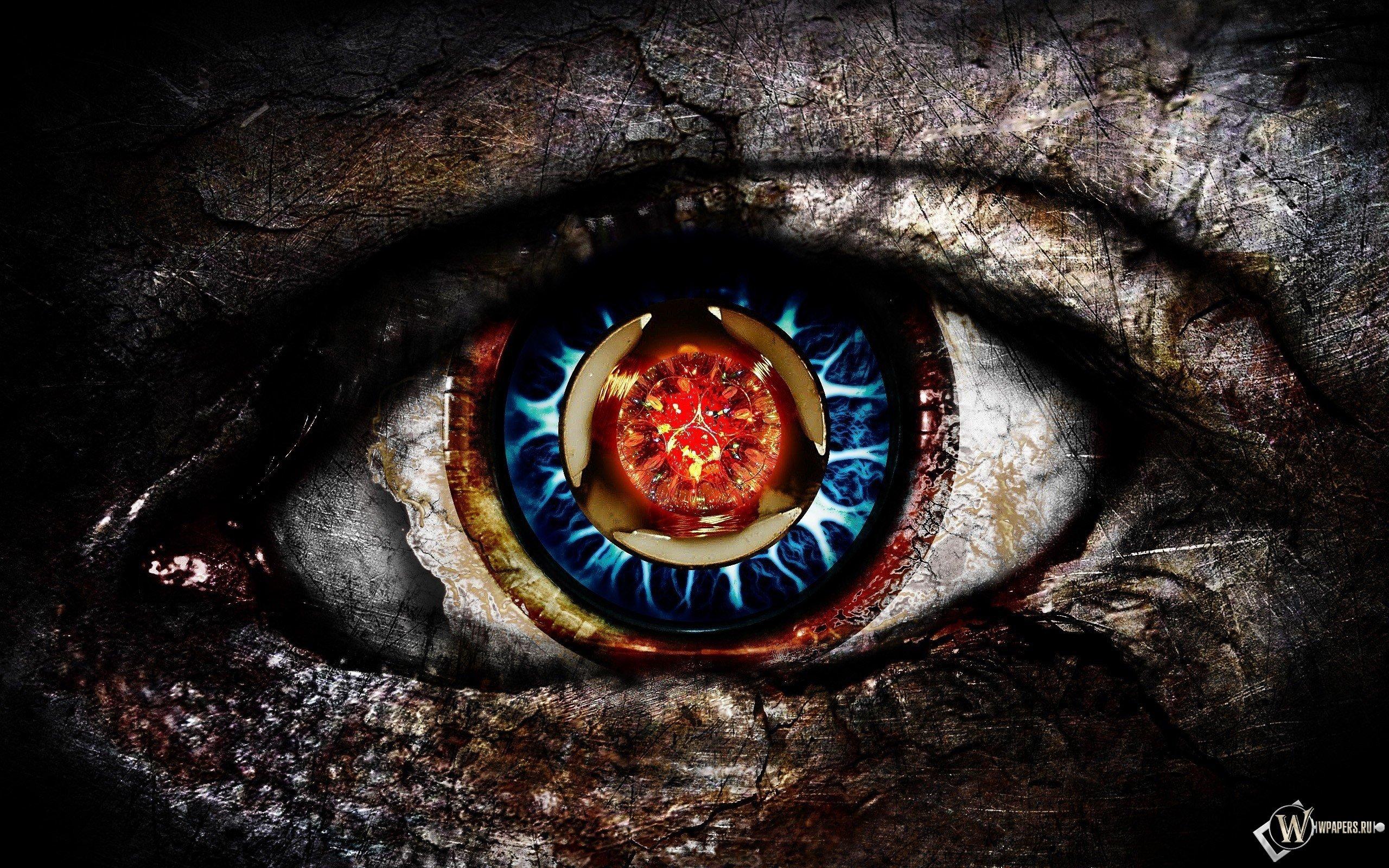 blue eyes, Red eyes Wallpaper
