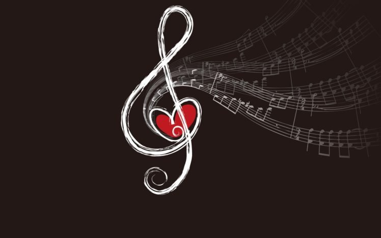music, Musical notes, Hearts, Simple background HD Wallpaper Desktop Background