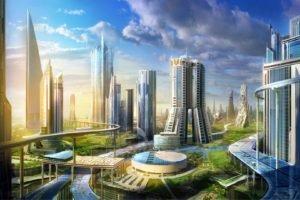 city, Futuristic, Cityscape
