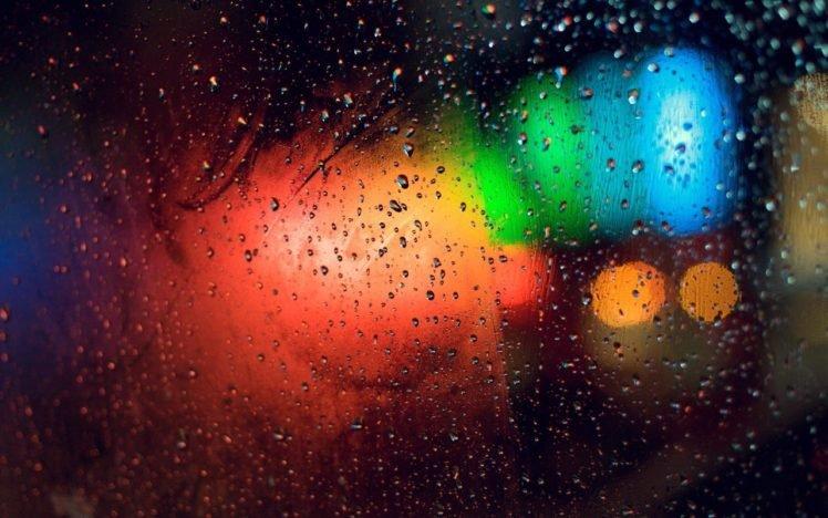 Lights Rain Macro Water Drops Colorful Bokeh Water On