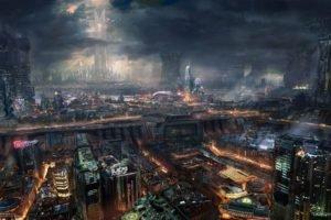 cyberpunk, Industrial, Cityscape