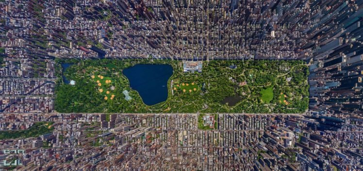 Aerial View New York City Cityscape Usa Central Park City Hd