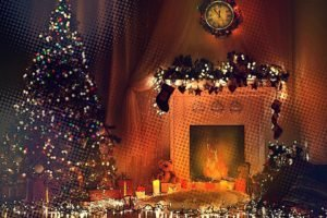fireplace, Trees, Toys, Clocks, Lights