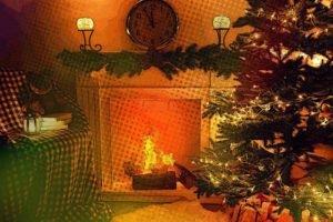 fireplace, Trees, Lights, Clocks