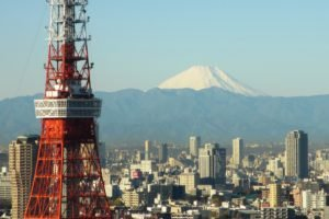 Japan, Tokyo, Tokyo Tower, Mount Fuji