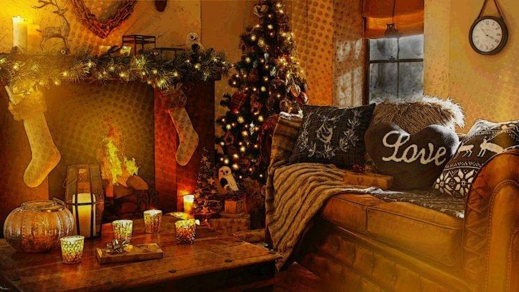 fireplace, Lights, Trees, Fire HD Wallpaper Desktop Background