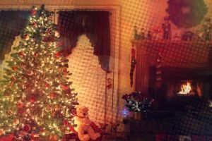 trees, Fireplace, Lights, Toys