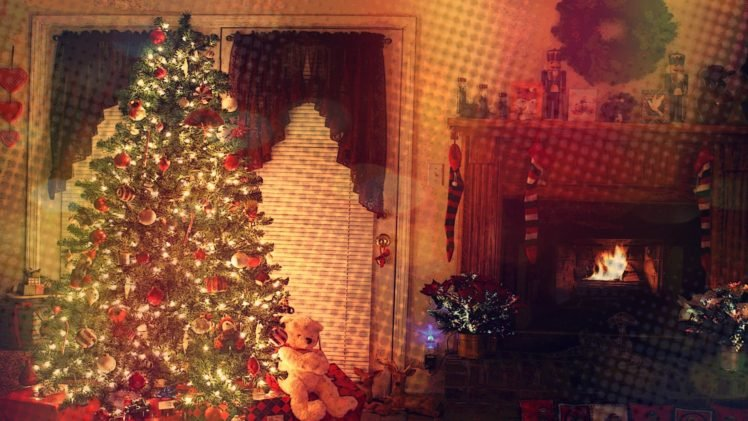 trees, Fireplace, Lights, Toys HD Wallpaper Desktop Background