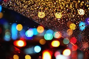 rain, Lights, Water on glass, Bokeh
