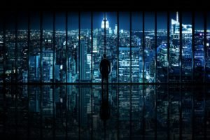 night, Gotham City, Window, Panels, Silhouette, Cityscape, Reflection