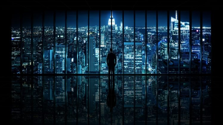 Night Gotham City Window Panels Silhouette Cityscape Reflection Hd Wallpapers Desktop And Mobile Images Photos