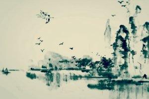 cranes (bird), Painting, Water