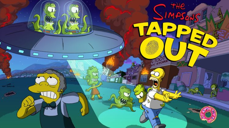 The Simpsons, Tapped Out, Aliens, Lisa Simpson, Moe Szyslak, Kang and Kodos HD Wallpaper Desktop Background