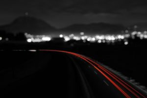 road, Long exposure, Selective coloring, Bokeh, Light trails