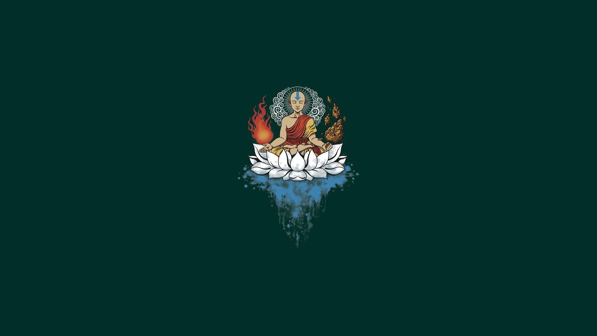 minimalism, Buddhism, Avatar: The Last Airbender, Aang, Elements, Meditation Wallpaper