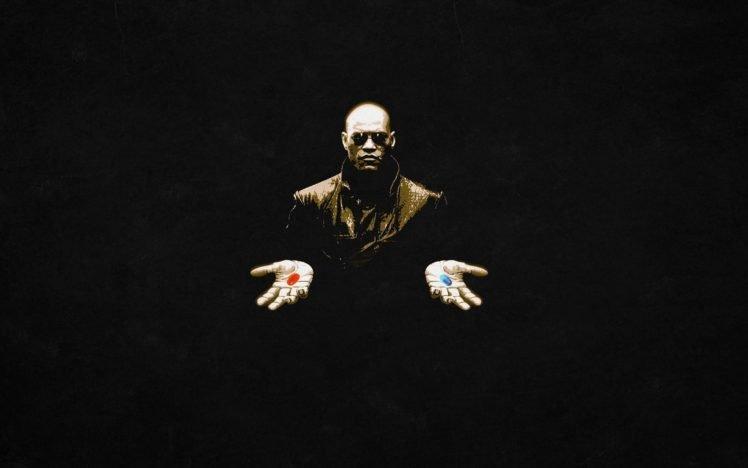 The Matrix, Morpheus, Black, Monks, Pills, Laurence Fishburne HD Wallpaper Desktop Background
