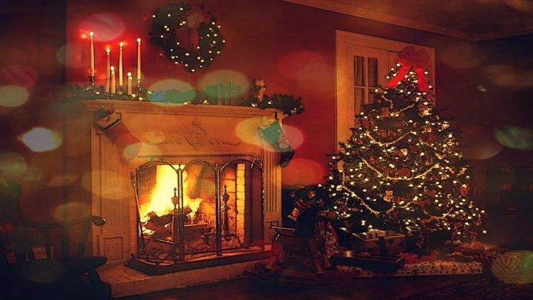 atmosphere, Lights, Fireplace, Decorations HD Wallpaper Desktop Background