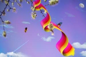 moon, Trees, Hot air balloons