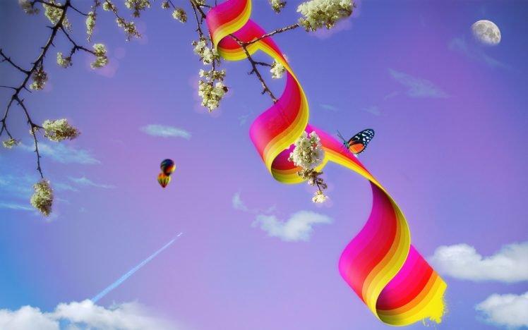moon, Trees, Hot air balloons HD Wallpaper Desktop Background