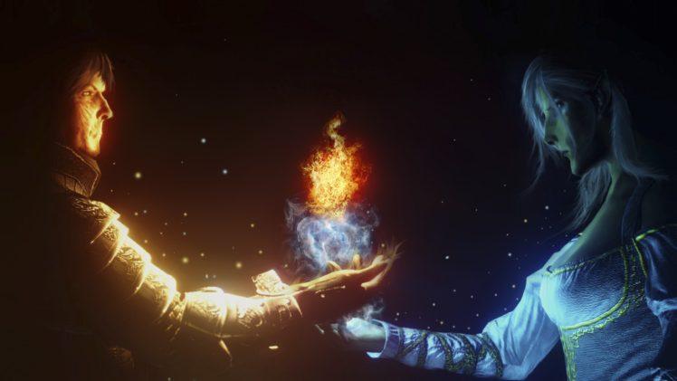 Wizard Sorcerer Fire Ice Magic Hd Wallpapers Desktop