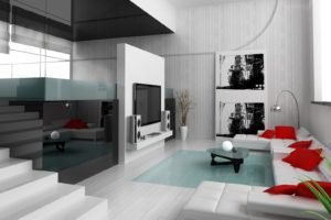 interior design, Couch, Television sets, Cushions, Stairs, Reflection, Vases