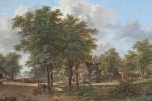 painting, Pastoral, Cows, Cottage, Sheep, Classic art