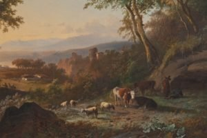 painting, Cows, Sheep, Trees, Classic art, Peasants