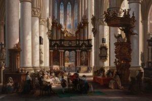 painting, Classic art, Interiors, Pillar, Belgium, Church, Statue, Architecture