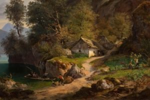 painting, Pastoral, Cottage, Boat, Rock, Trees, Path, Classic art