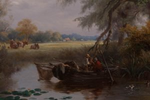 painting, Lily pads, Boat, Field, Cows, Fishing, Classic art