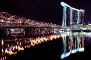 lights, Marina Bay, Singapore, Reflection, Building