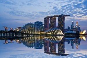 cityscape, Architecture, Reflection, Singapore, Marina Bay