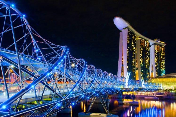 lights, Bridge, Singapore, Architecture, Marina Bay HD Wallpaper Desktop Background