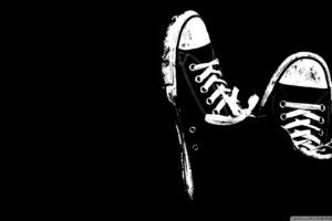 black background, Monochrome, Converse, Boots