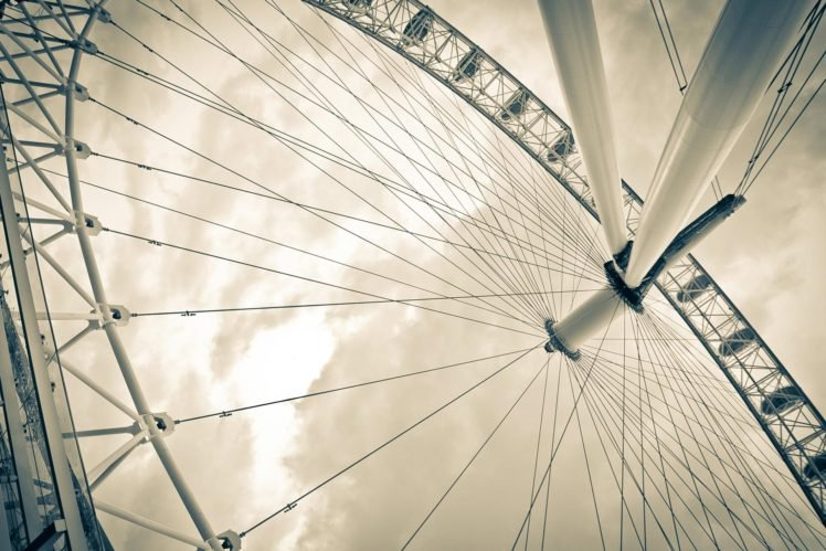 monochrome, Ferris wheel HD Wallpaper Desktop Background