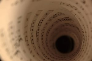 music, Musical notes, Tunnel, Depth of field