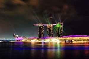 Marina Bay, Lights, Ferris wheel, Singapore, Building