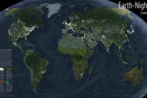 Earth, National Geographic, Information, Lights, Night, Map