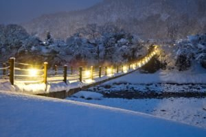 bridge, Snow, Lights