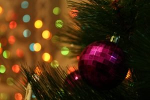 Christmas ornaments, Pine trees, Bokeh