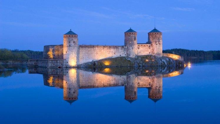 castle, Finland, Reflection, Water HD Wallpaper Desktop Background