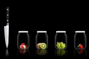 jars, Fruit, Knife, Kiwi (fruit), Grapes, Strawberries, Black background, Reflection