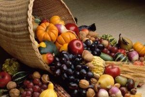 baskets, Pumpkin, Apples, Grapes, Wheat