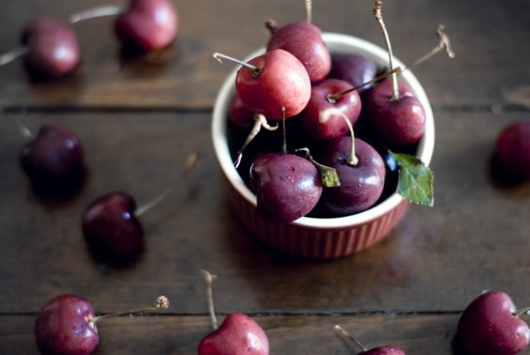 cherries, Wooden surface HD Wallpaper Desktop Background