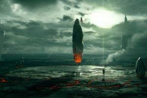 science fiction, Floating, Sunlight, Lava