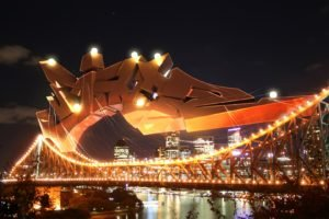 city, Night, Bridge