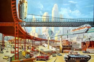 interchange, Futuristic, Highway, Concept art, Skyscraper