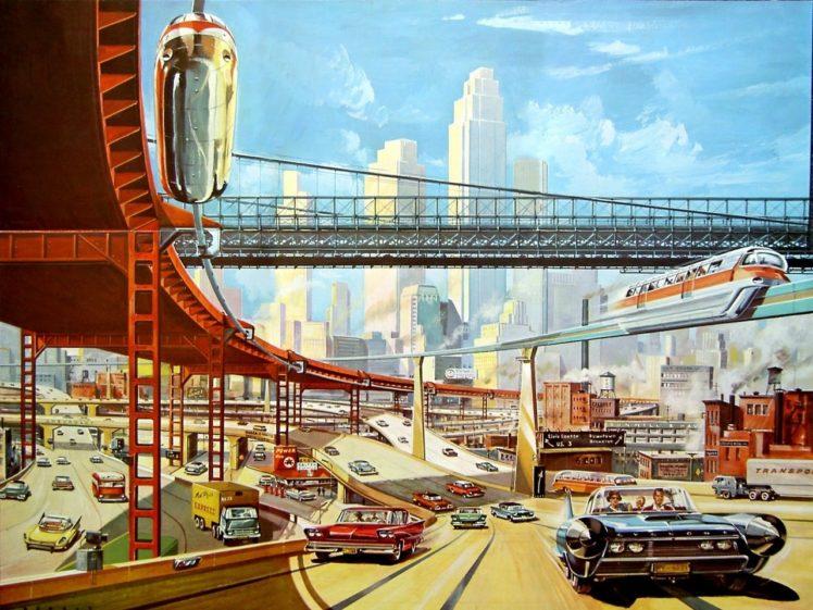 interchange, Futuristic, Highway, Concept art, Skyscraper HD Wallpaper Desktop Background
