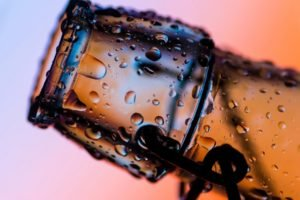bottles, Water drops, Macro